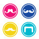 Mustache Round Colorful Icons  - GraphicRiver Item for Sale