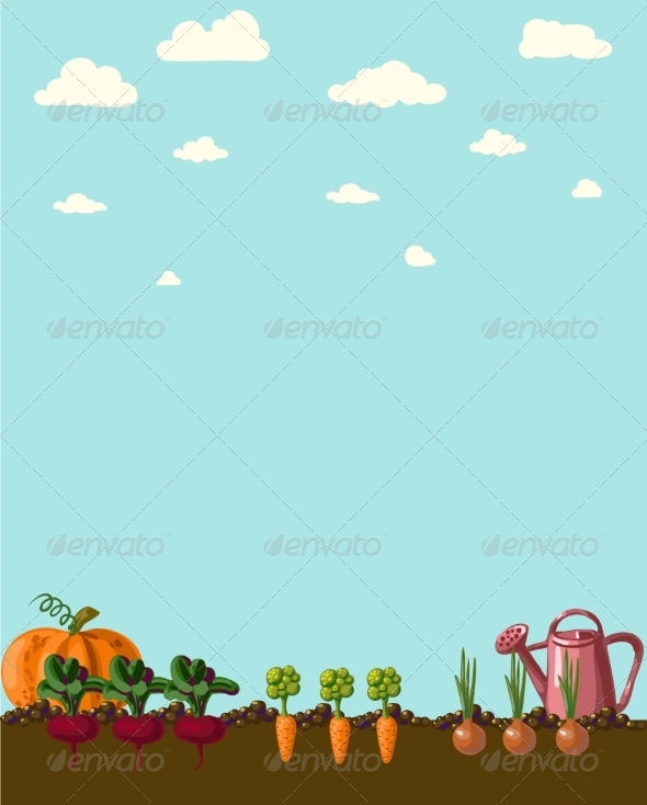 GraphicRiver Vintage Garden Banner with Root Veggies 6857959