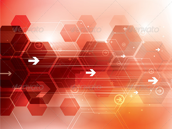 GraphicRiver Abstract Red Technology Background 6858119