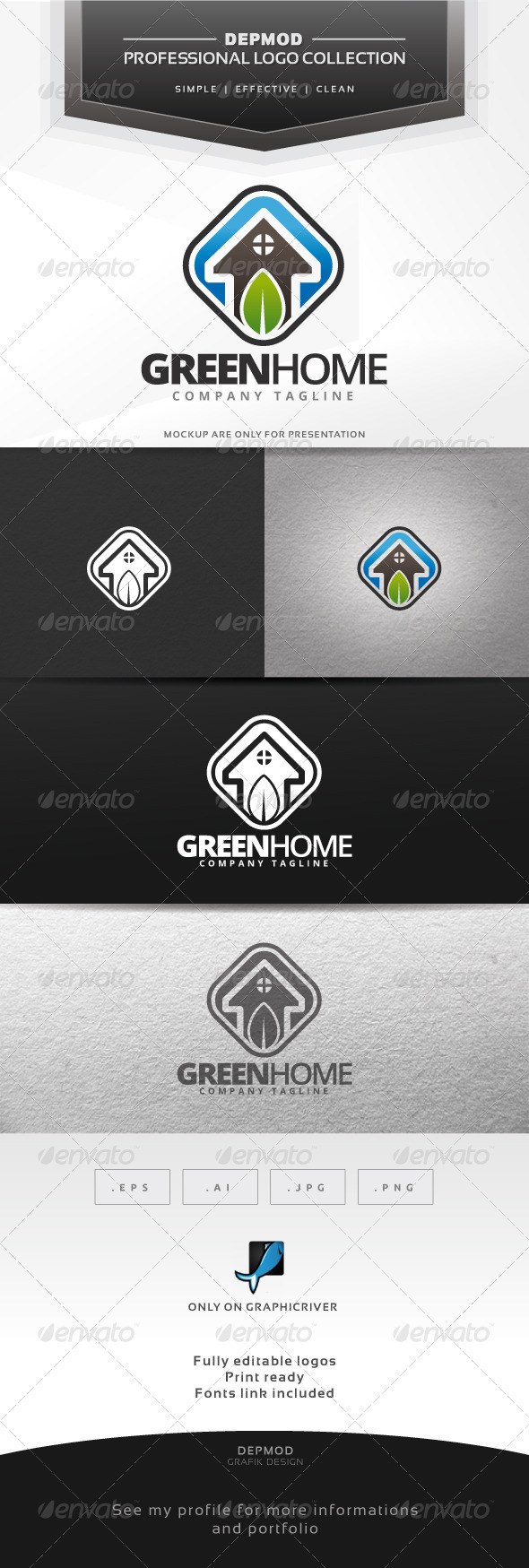 GraphicRiver Green Home Logo 6858637