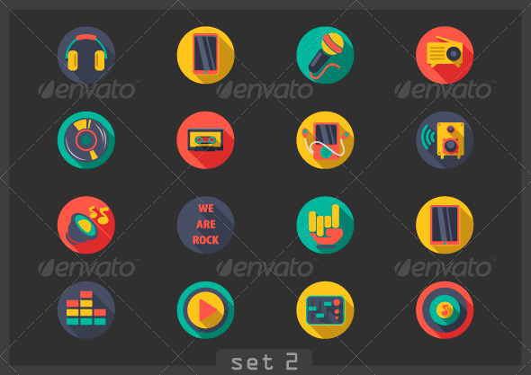 GraphicRiver Flat Music Icons 6848734