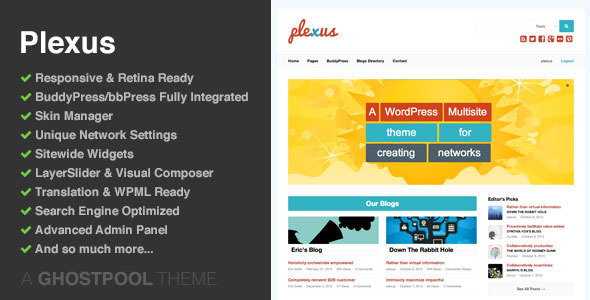 Plexus: Network WordPress & BuddyPress Theme