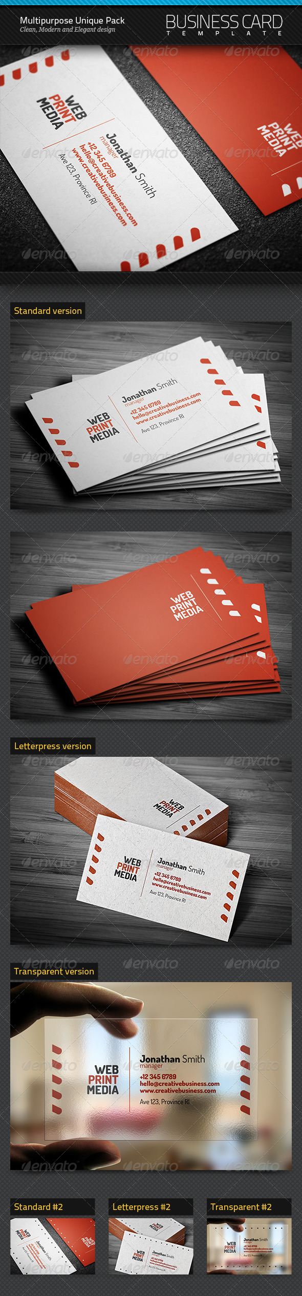GraphicRiver Multipurpose Unique Pack of Business Cards 6860412