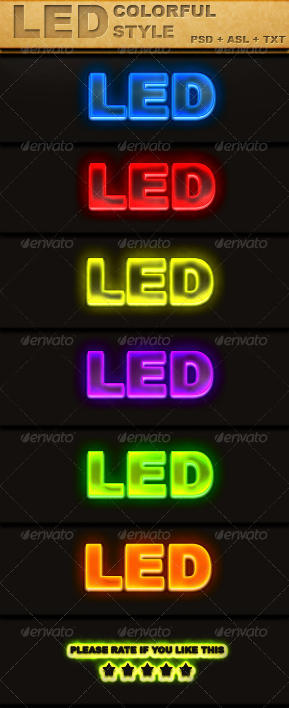 GraphicRiver LED Colorful Text Style 6861858