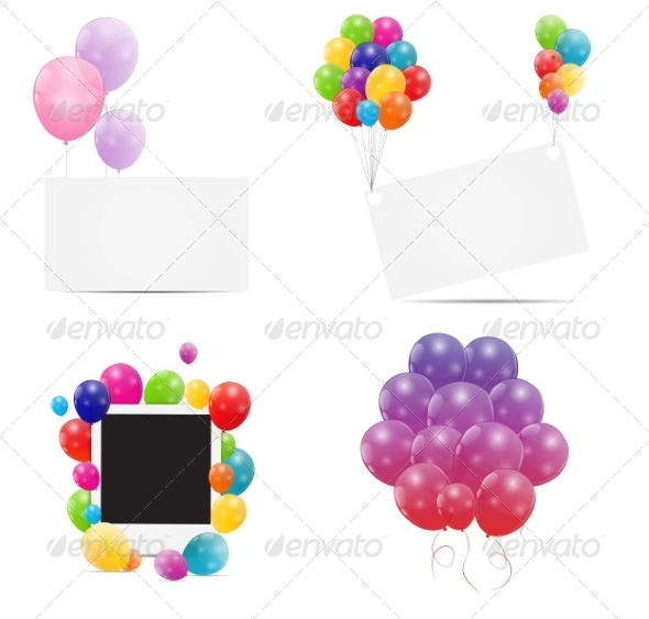 GraphicRiver Color Glossy Balloons Card Backgrounds 6862654