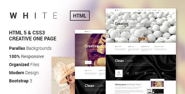 ThemeForest WHITE Creative One-Page HTML Template 6852754