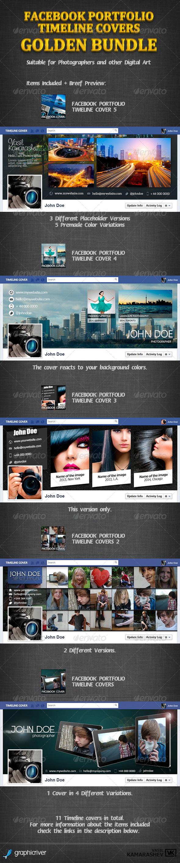 GraphicRiver Facebook Portfolio Timeline Covers Golden Bundle 6862745