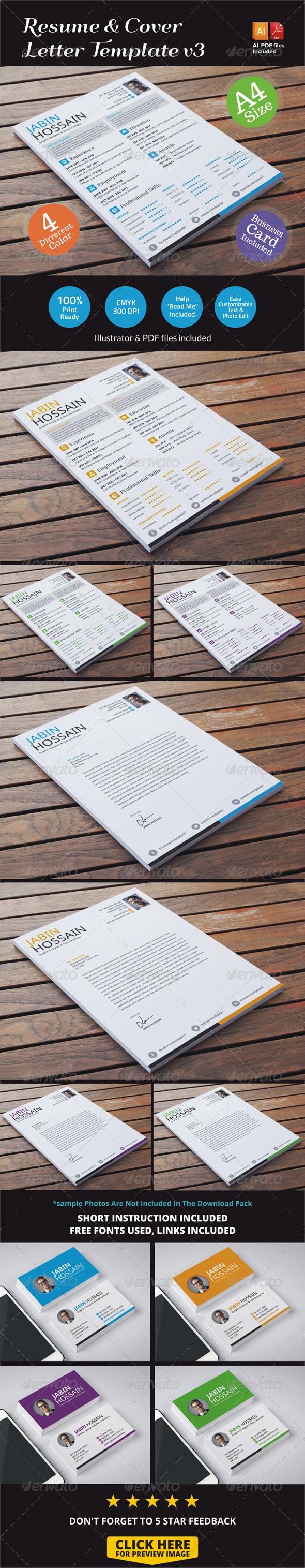 GraphicRiver Resume & Cover Letter Template v3 6862747