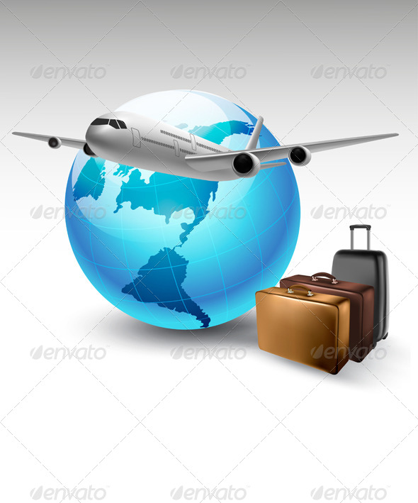 GraphicRiver Background with Airplane and Globe Travel Concept 6863013