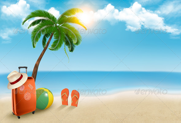 GraphicRiver Vacation Background on Beach 6863028
