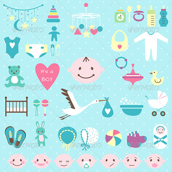 GraphicRiver Baby Shower Set for Boy 6864588