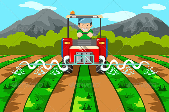 GraphicRiver Farmer Watering the Farm with Tractor 6865438