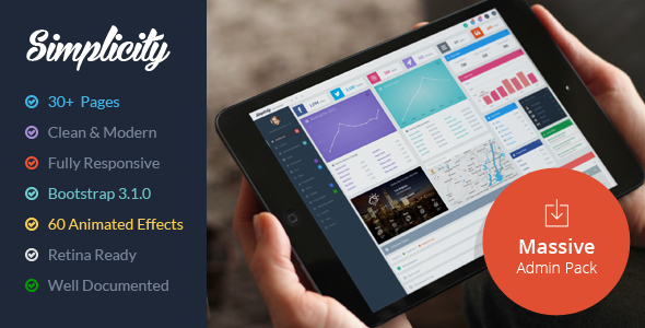 ThemeForest Simplicity Massive Admin Pack 6862788