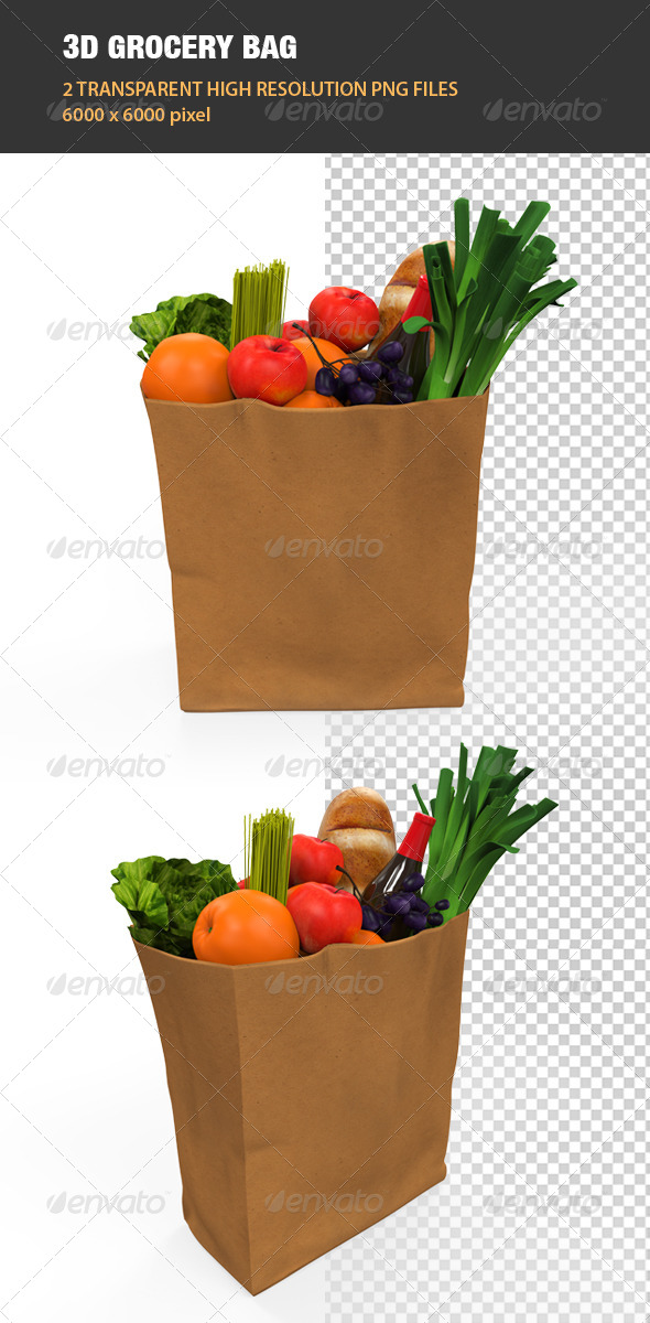 GraphicRiver 3D Grocery Bag 6865749