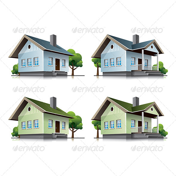 GraphicRiver Family houses cartoon icons 6865837