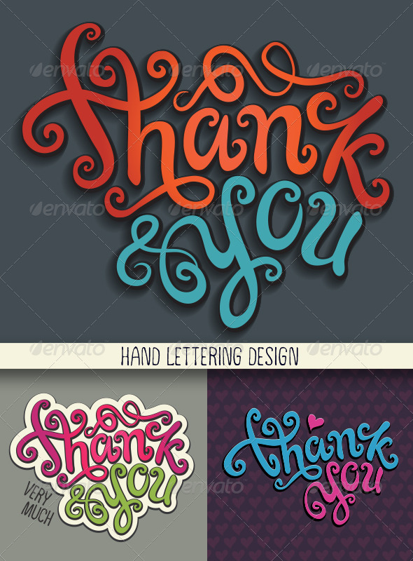 GraphicRiver Thank You Hand Lettering Set 6867229