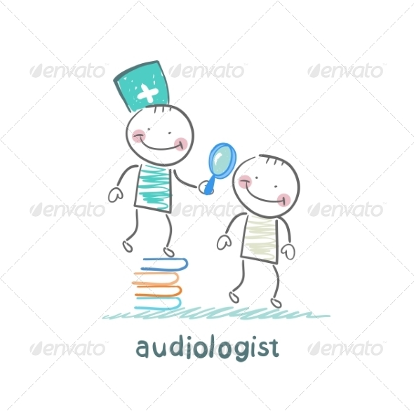 GraphicRiver Otolaryngologist Stands on a Pile of Books and Looks 6867682
