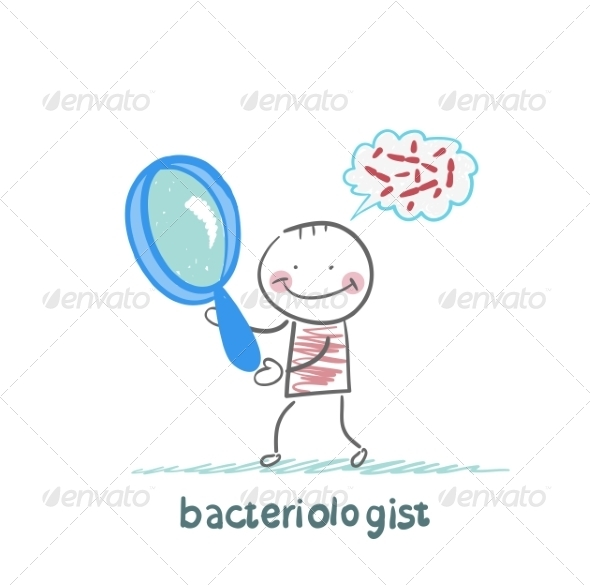 GraphicRiver Bacteriologist Looks Through a Magnifying Glass 6867798