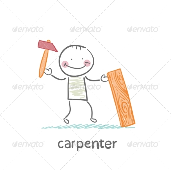 GraphicRiver Carpenter with a Hammer and Board 6867921