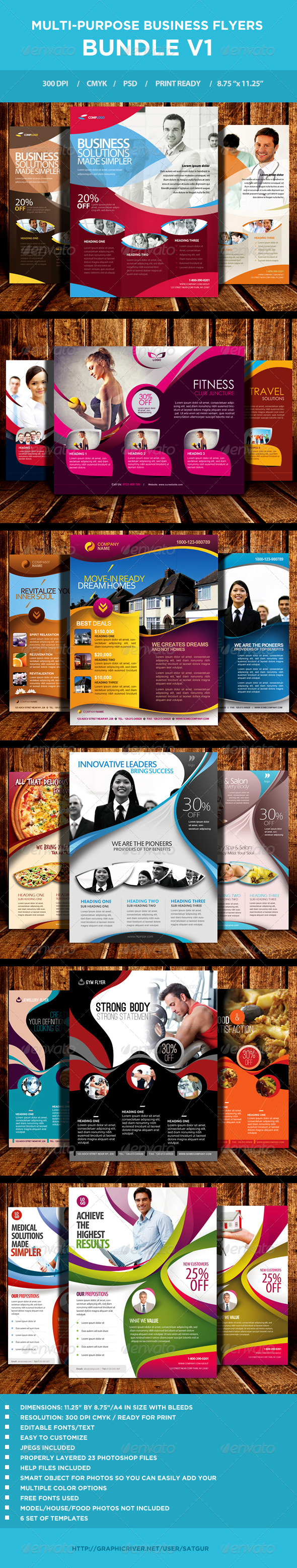 GraphicRiver Multi-purpose Business Flyers Bundle V1 6868650