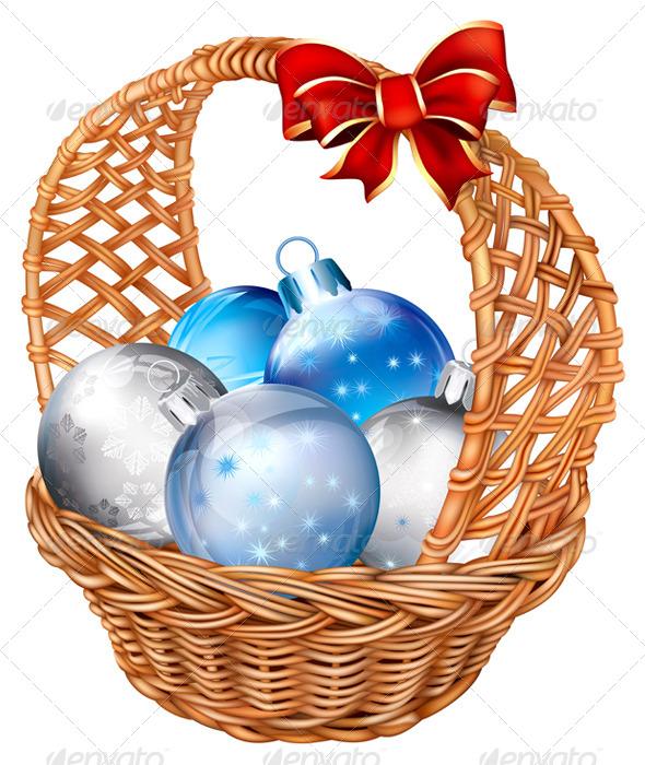 GraphicRiver Basket with Christmas Balls 6859405