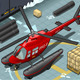Isometric Arctic Emergency Helicopter Landed  - GraphicRiver Item for Sale