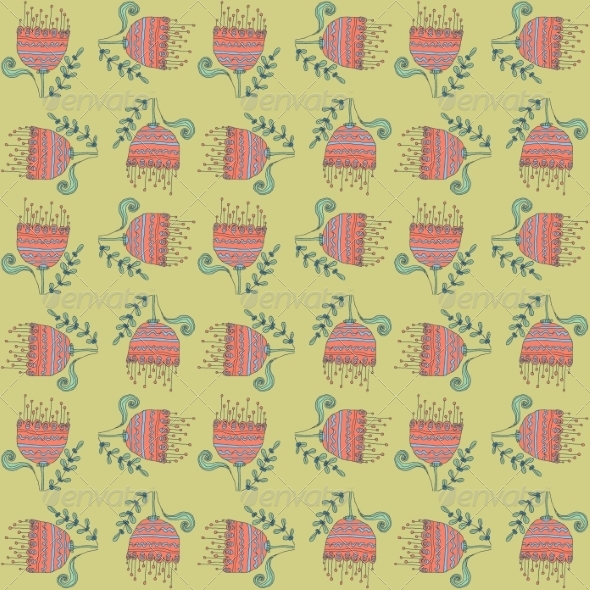 GraphicRiver Retro Floral Background 6870296