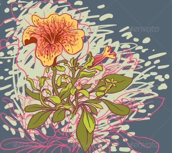 GraphicRiver Retro Floral Background 6870482
