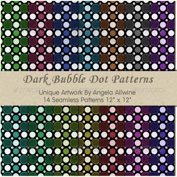 GraphicRiver Dark Bubble Dots Pattern Set 6871932