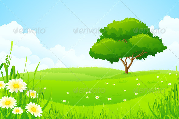 GraphicRiver Green Landscape with Tree 6872706