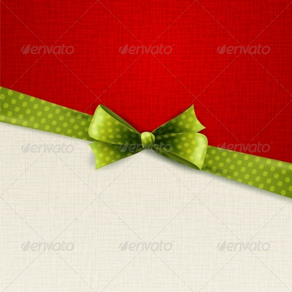 GraphicRiver Holiday Background with Green Polka Dots Bow 6873565