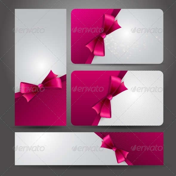 GraphicRiver Holiday Gift Card with Red Ribbons and Bow 6873566