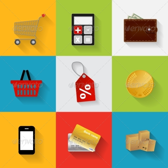 GraphicRiver Shopping Flat Icons 6874172