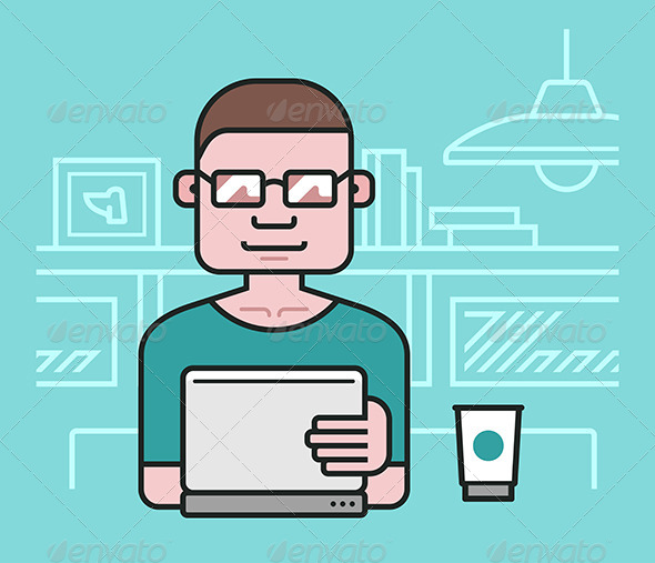 GraphicRiver Man Working At The Laptop 6875321