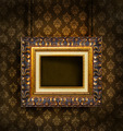 Gold picture frame on antique wallpaper background  - PhotoDune Item for Sale