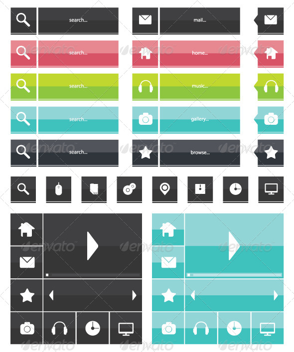 GraphicRiver Flat Icons Web Elements 6877986