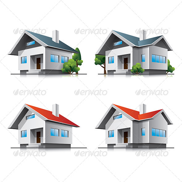 GraphicRiver Family Houses Cartoon Icons 6879034