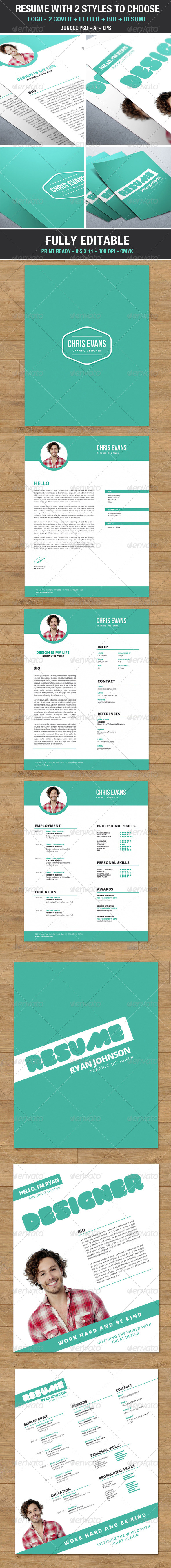 GraphicRiver Clean Modern Resume 2 styles to choose Bundle 6879321