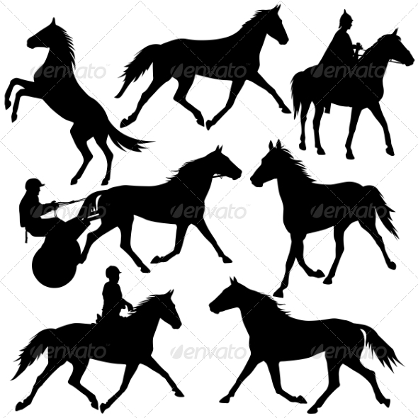 GraphicRiver Horse Silhouettes 6880093