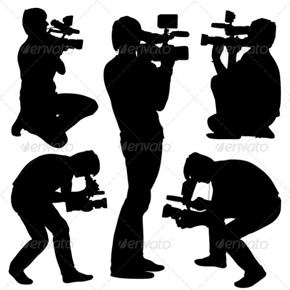 GraphicRiver Cameraman Silhouettes 6881512