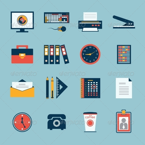 GraphicRiver Business Office Stationery Icons Set 6882982