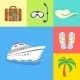 Vacation Holidays and Travel Icons Set - GraphicRiver Item for Sale