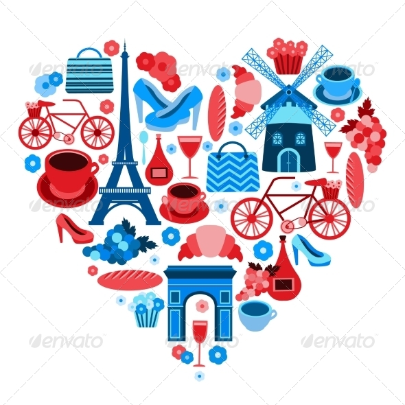 GraphicRiver Love Paris Heart Symbol 6884487