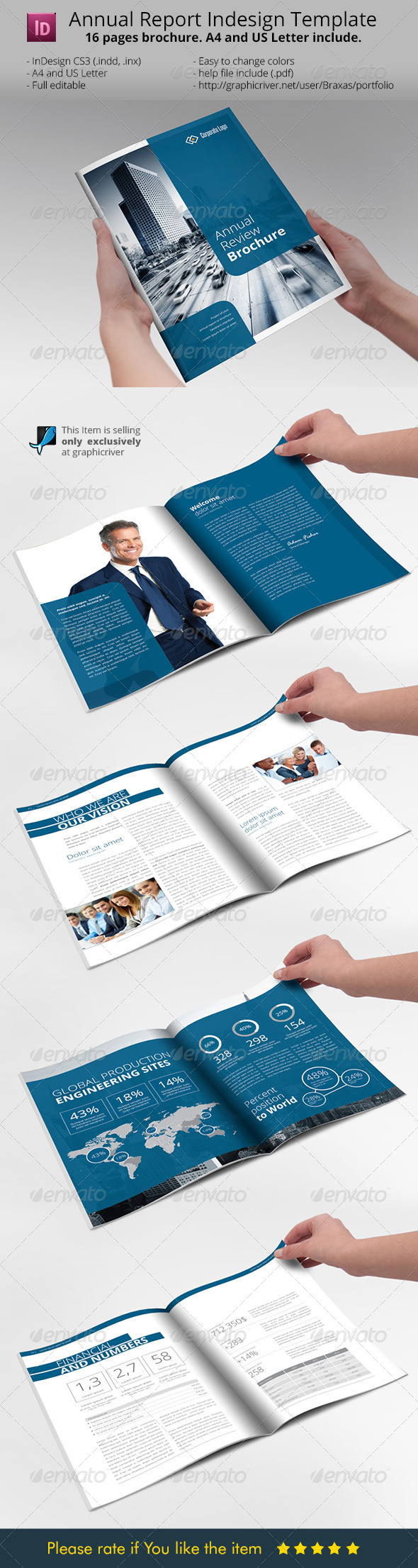 template brochure indesign - modern annual report with indesign free download