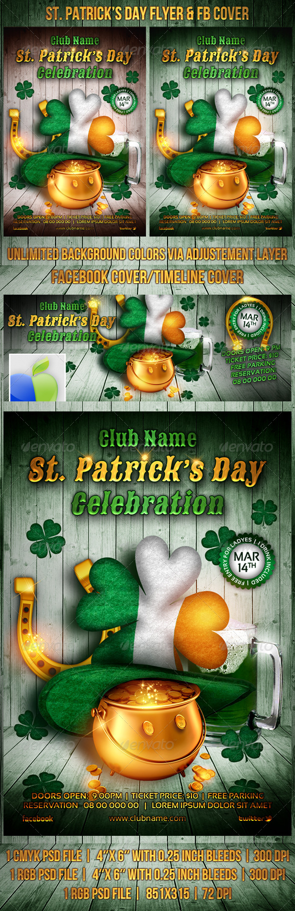GraphicRiver St Patrick s Day Flyer FB Cover 6886540