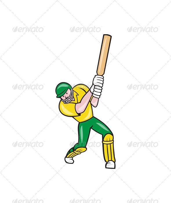 GraphicRiver Cricket Player Batsman Batting Front Cartoon 6886608