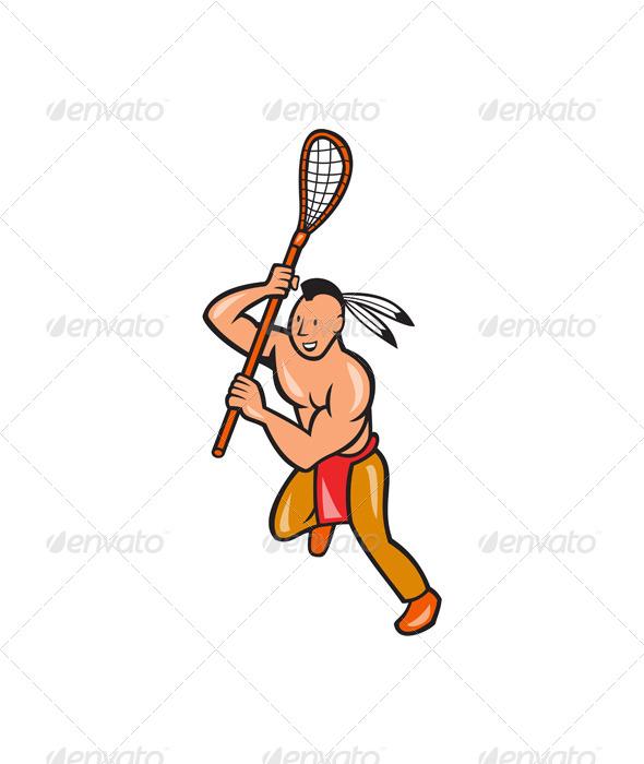 GraphicRiver Native American Lacrosse Player Crosse Stick 6886850