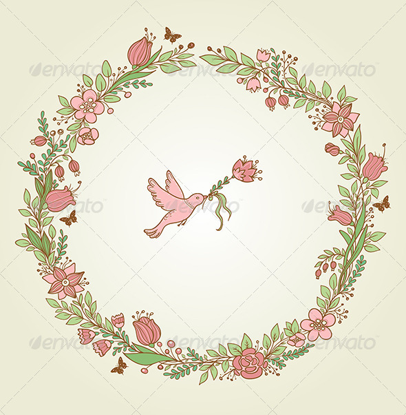 GraphicRiver Floral Frame and Bird 6889646