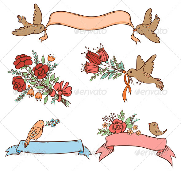 GraphicRiver Hand Drawn Banners with Flowers and Birds 6889689