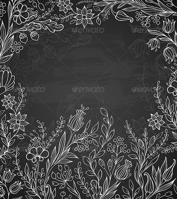 GraphicRiver Black Background with White Flowers 6889714